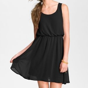 Lush 'Drew' Blouson Tank Dress Black Chiffon